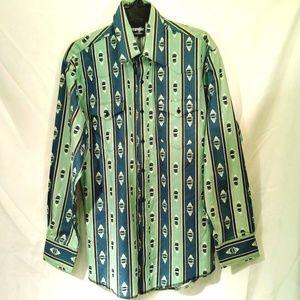 Wrangler Western Chevron/Stripe Button Shirt Men L